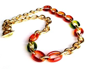 Statement Necklace Forest Green, Tortoise Shell, and Gold Link Chain Necklace or Three Layered Stacking Bracelet Made with Vintage Links