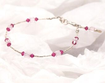 FUCHSIA & PALE PINK Swarovski Crystal Bracelet