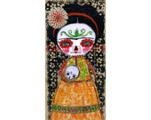 Frida Catrina And The Sugar Skull - Giclee Reproduction Of Original Collage Painting By Danita Art (Paper Prints and ACEO Wood Mounted)