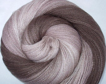 Deluxe handspun lace yarn, silk and british bfl lambswool, hand painted yarn, hand dyed yarn, Triple Coffee, 1133yds, 4oz, Free Shipping.
