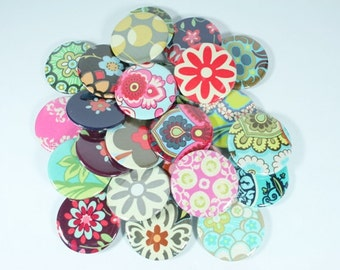 BRIDAL SHOWER FAVORS, baby shower favors - 25 Amy Butler Fabric Button Mirrors