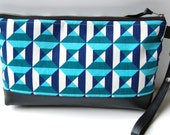 Blue Geometric Squares Cotton and Leather Wristlet Clutch