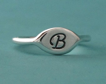 Initial Letter Ring Sterling Silver - Small Signet Pinky Ring