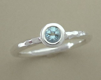 Aquamarine Ring - Sterling Silver and Round Faceted Aquamarine Solitaire Hand Hammered Stacking Ring with 3.5 mm Stone