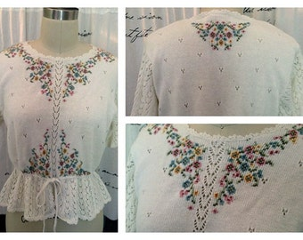 Vintage Embroidered Open Work White Sweater