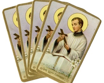 5pcs SAINT ALOYSIUS GONZAGA Vintage Prayer Cards Miniature Italy