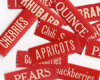 10pcs ANTIQUE CANNING LABELS 1913 Tiny & Vibrant