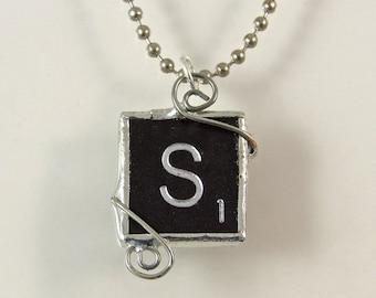 Black Letter S Scrabble Pendant