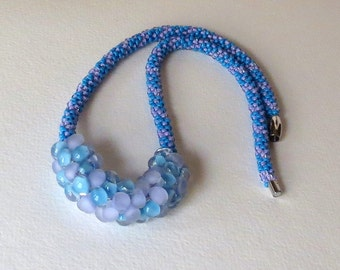 Kumihimo Necklace, Unicorn Beads and Toho Beads in Blue and Lilac Shades , Smokeylady54