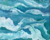 Seascape original acrylic painting,  Ocean Art, painting of waves in sea, ocean, original acrylic painting of ocean waves, sea art, decor