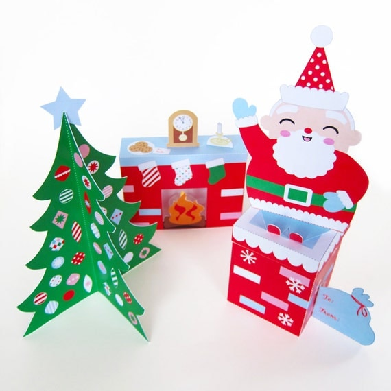 Cozy Christmas Paper Craft Decorations by FantasticToys on Etsy
