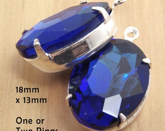 Sapphire Blue Glass Beads, Silver Plated Brass Settings, 18mm x 13mm, Oval, One or Two Rings, Glass Gems, Rhinestone Jewels, One Pair