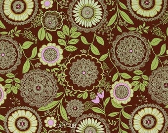 Amy Butler Fabric / Lacework in Brown  / 1 Yard Cotton Quilt Fabric  Designer Fabric