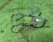 Sea Moss - Prehnite and Sterling Silver Earrings