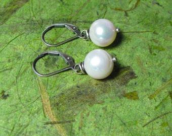 Sweet Simple Pearls - Freshwater Pearl and Sterling Silver Earrings