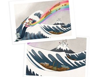 Cat Greetings cards - set of two - making the great wave hokusai japan cat sewing unicorn japanese kawaii