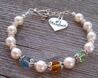 Grandma  Birthstone Bracelet Sterling Silver and Swarovski Crystal