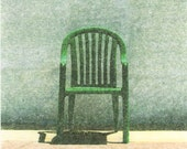 Hand printed image transfer photo print, still life with green chair