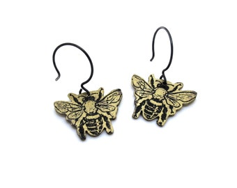 Golden Honey Bee Earrings- Sterling Silver and Brass