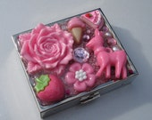 oh deer kawaii decora decoden contact lens case - stash box - cigarette case - mirrored compact - lolita kawaii