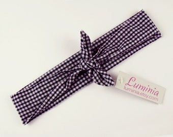 Gingham tie up headband rockabilly style hairband retro headscarf blue white plaid check cotton