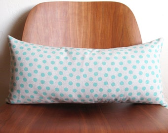 SALE Aqua Blue Polka Dot Pattern Rectangle Pillow