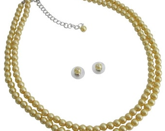 Yellow Pearls Double Stranded Economical Wedding Low Price Jewelry Set Free Shipping In USA