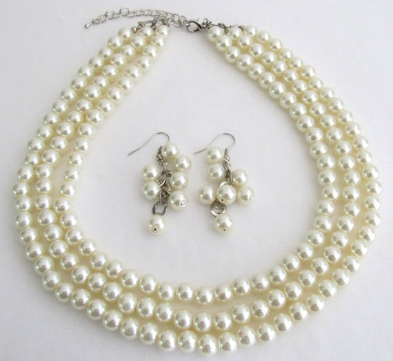 Wedding Pearl Jewelry Set, wedding necklace & earrings wedding ivory set bridal jewelry pearl bridal set,3 strand necklace Free Shipping USA