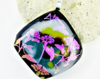 Magneta Dichroic Flowers Fused Glass Pendant