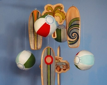 Baby Mobile Beach | Surfboards with Plush Beach Balls | Colorful Mobile | Surf Baby Nursery | Style: Solana Beach