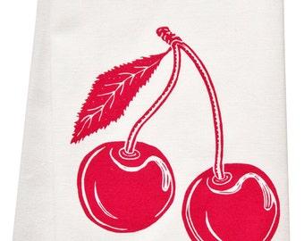 organic cherry tea towel