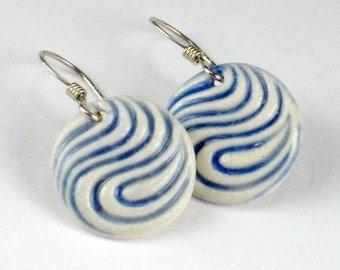 Porcelain Earrings - Swirl In Navy Blue With Sterling Silver Earwires