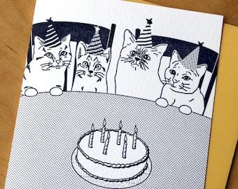 Cat Birthday Party - Letterpress Card