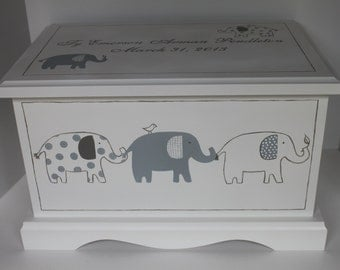 Grey Patterned Elephants - baby keepsake chest memory box personalized baby gift hand painted