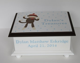 Baby Keepsake Box memory boxt personalized - Sock Monkey baby gift hand painted