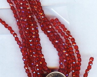 Fire Polished Faceted Czech Glass Round Beads Siam Ruby Red 3mm 50pcs