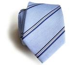 "Light blue stripe linen necktie. ""Belle Isle."" Silk & linen blend men's tie. Bias cut nautical blue series. Perfect for any season."
