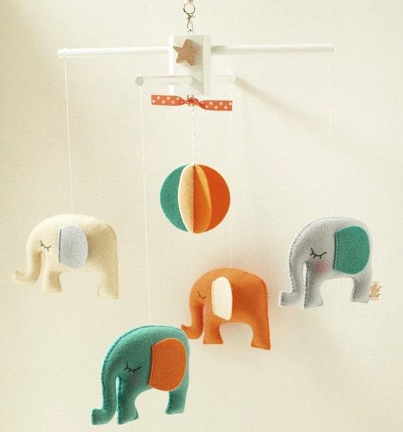 Musical Baby Mobile ELEPHANT CARNIVAL & FREE Music Box, Custom Color, Safari Theme, Hanging Mobile for Modern Baby Nursery, Kids Room Decor