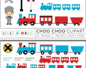 40% off Train clipart with conductor, locomotive, caboose, cute boy birthday party Choo Choo INSTANT DOWNLOAD