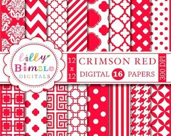 80% off CRIMSON RED digital paper with chevron, quatrefoil, polka dots, stripes for cards, invites, monogramming, scrapbook, Instant Downloa