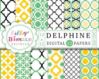 80% off Quatrefoil digital scrapbook papers in green, yellow, black and white Delphine lattice scrapbooking Instant Download
