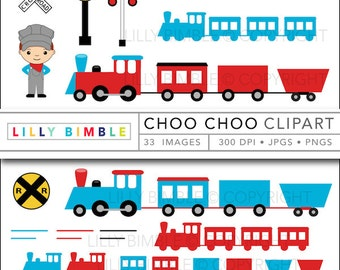 60% off Train clipart with conductor, locomotive, caboose, cute boy birthday party Choo Choo INSTANT DOWNLOAD