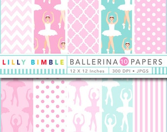 40% off Digital Scrapbook Paper BALLERINA ballet in pink and aqua patterned scrapbooking paper Instant Download