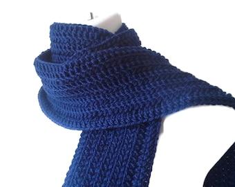 Dark Navy Blue Wool Scarf Men Unisex DRAKE Ready to Ship - Winter Fashion