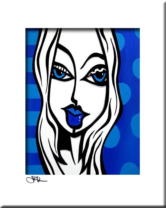Très Peinture abstraite moderne pop Art imprimé décor visage KB78