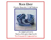 Peyote Pattern ... MOON RIVER ... Bracelet Pattern . Mod . Swirly . Shades of Blue . Pretty . Beadwork Design . Tutorial . Five Color