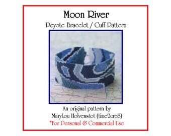 Peyote Pattern ... MOON RIVER ... Bracelet Pattern . Mod . Swirly . Shades of Blue . Pretty . Beadwork Design . Tutorial . Five Color