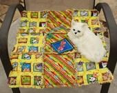 Cat Blanket, Yellow Cat Blanket, Cat Quilt, Indoor Cat Blanket, Travel Cat Blanket, Pet Crate Mat, Handmade Cat Blanket, Personal Cat Bed