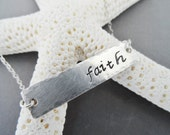 Faith Sterling Silver Bar Necklace,  Custom necklace, personalized necklace, bar necklace,  silver necklace, layering necklace
