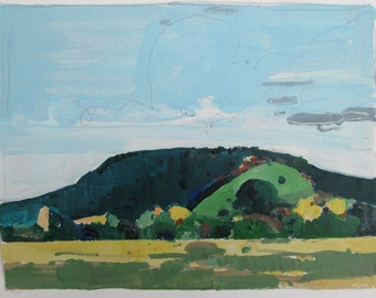 October 2, Garden Hill, Original Landscape Painting on Paper, Stooshinoff